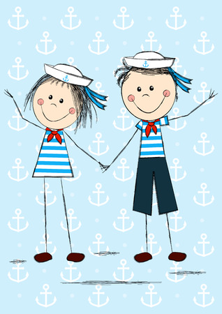 sailor girl: Funny sailor kids for Your design
