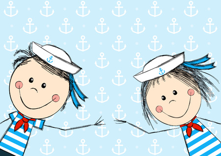 Funny sailor kids for Your design Vector