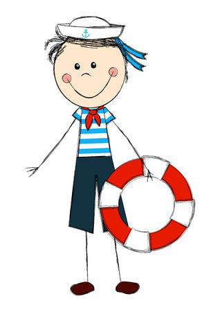 Lustiger Junge trägt Matrosenkostüm Standard-Bild - 29861374