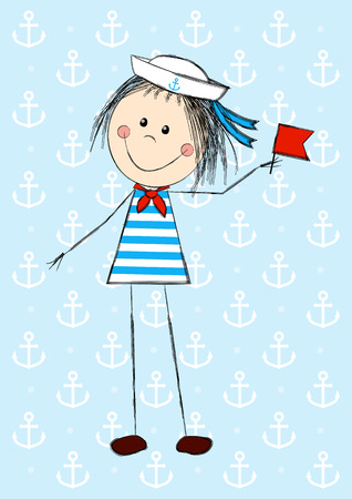 sailor hat: Funny sailor girl with flag
