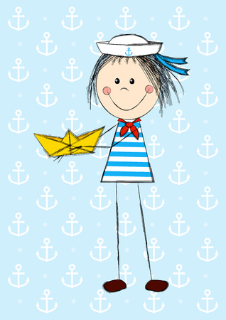 sailor girl: Funny sailor girl with paper boat Illustration
