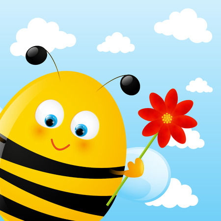 Funny bee on sky background Vector