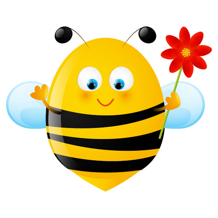 Funny bee with red flower Vector