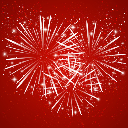 Starry fireworks on red background Vector