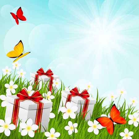 Sunny meadow with gift boxes Vector