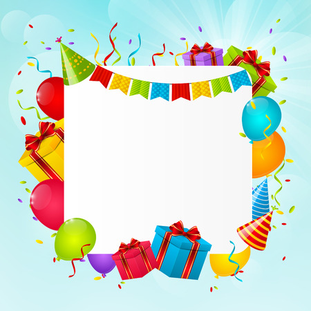 balloons party: Birthday background for Your design