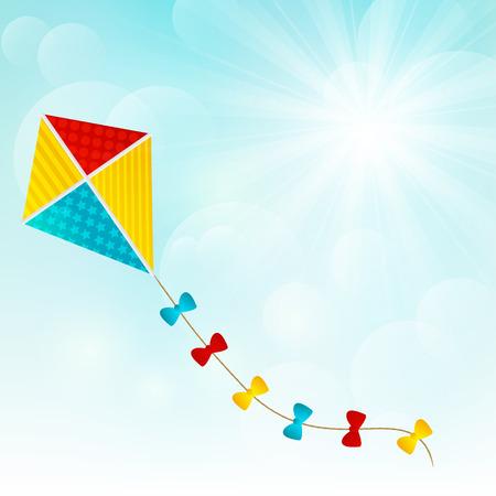paper kite: Color paper kite on sunny background Illustration