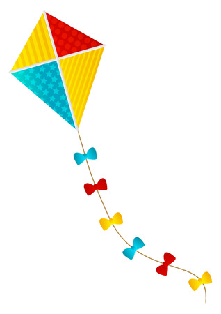 paper kite: Color paper kite on white background Illustration