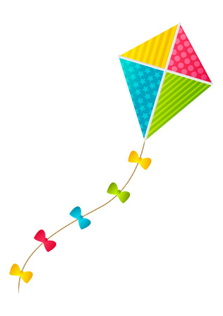 Color paper kite on white background Illustration