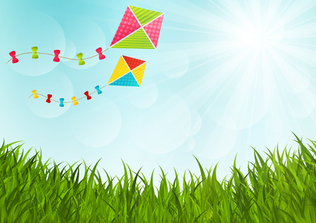 paper kite: Sunny meadow with color kites Illustration