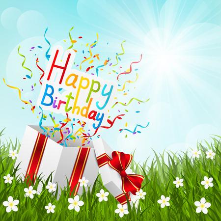 Birthday gift box on green grass Vector