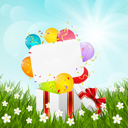 Birthday gift box on green grass Vector