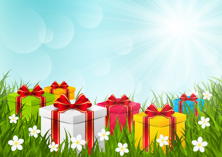 surprise box: Gift boxes on green grass
