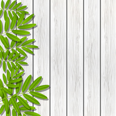 green leaves border: Green leaves border on wooden background