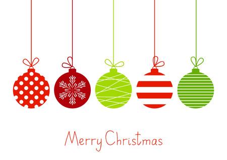Boules de Noël de couleur sur fond blanc