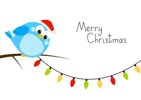 christmas bulbs: Cute little bird with light bulbs Illustration