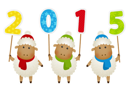 Cute little sheep with 2015 number Vector