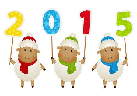 Petit mouton mignon avec 2015 nombre