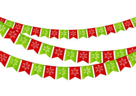 christmas element: Party Christmas flags for Your design