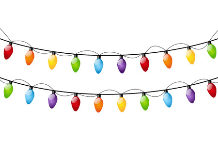 element: Color Christmas light bulbs on white