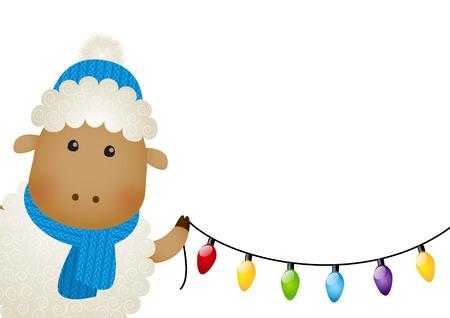 ligh: Cute little sheep with ligh bulbs Illustration