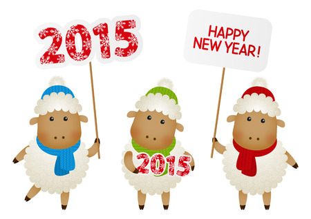 cartoon new: Set of New Year sheep