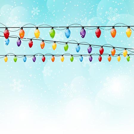 christmas bulbs: Color Christmas light bulbs on sky background Illustration