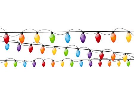 christmas bulbs: Color Christmas light bulbs on white