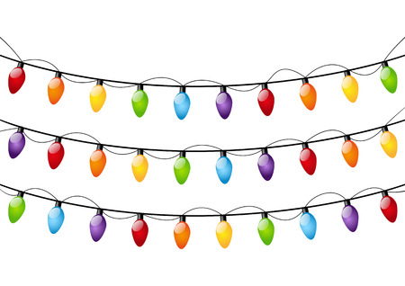 Color Christmas light bulbs on white