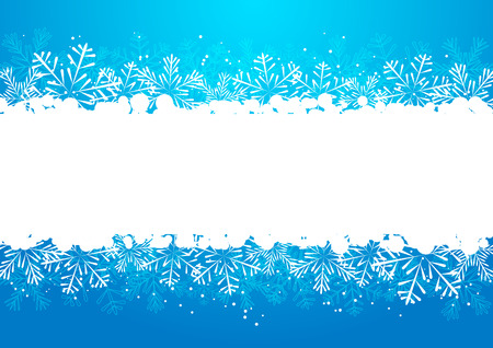 Christmas snowflakes border on blue Vector