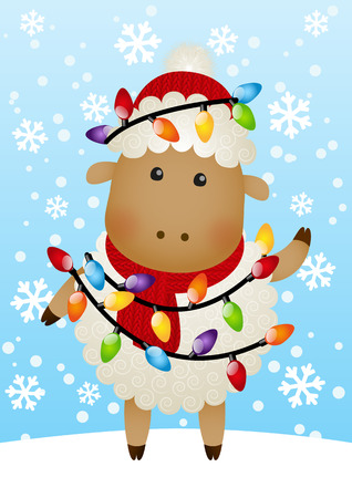 Cute sheep with Christmas light bulbs Vector