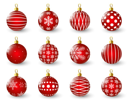 color balls: Set of red Christmas balls