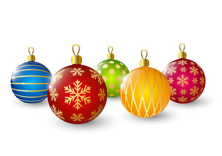 Christmas balls on white background Vector
