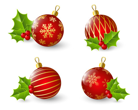 Set of red Christmas balls Vector