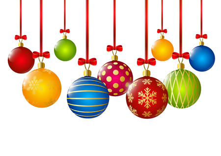 christmas ball: Christmas balls with red ribbons