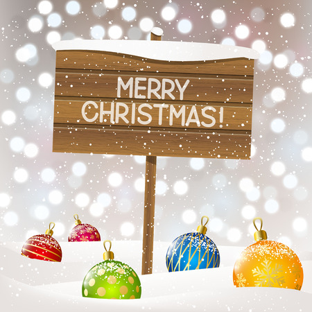Christmas background with wooden plate Vector