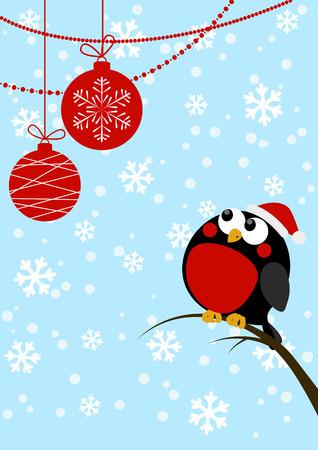 Cute little bird with Christmas balls Vector