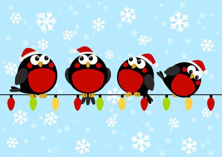 Cute little birds with light bulbs Vector