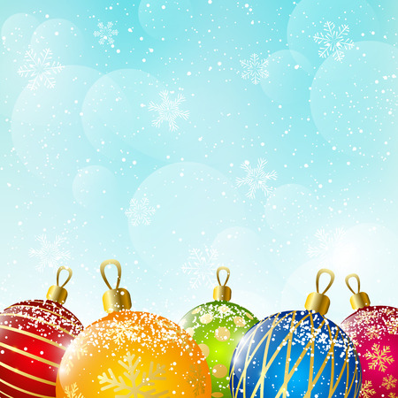 Color Christmas balls on sky background Vector