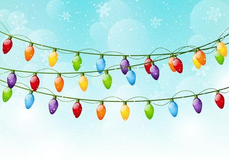 christmas bulbs: Christmas background with light bulbs Illustration