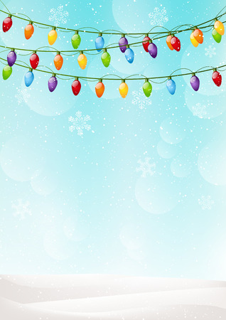 Christmas background with light bulbs Vector