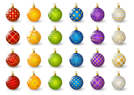 Set of color Christmas balls 矢量图像