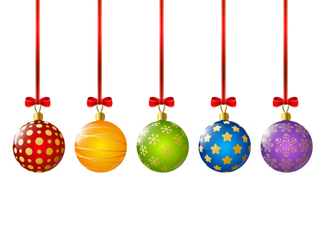 Xmas color balls on white
