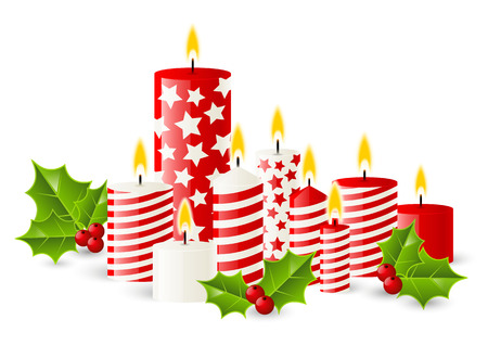 Christmas candles with holly berries Vector