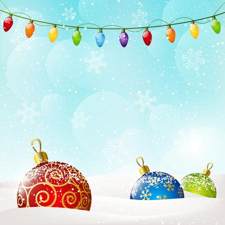 christmas bulbs: Christmas background with color balls Illustration