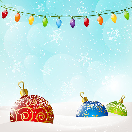 Christmas background with color balls Illustration