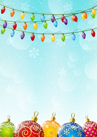 Christmas background with light bulbs Illustration