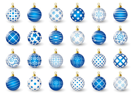 Set of blue Christmas balls 矢量图像