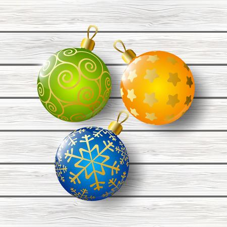 xmas background: Xmas balls on wooden background