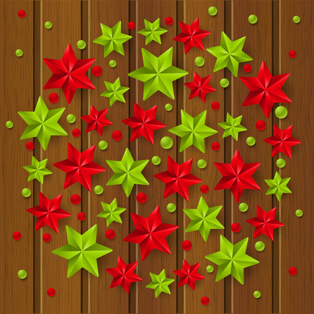 xmas background: Xmas starry decorations on wooden background Illustration